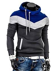Herren Standard Hoodies-Lässig/Alltäglich Einfach Solide Blau / Beige / Braun / Grau Gurt Langarm Baumwolle Winter Mittel Mikro-elastisch