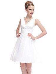 Women's Dress , Chiffon/Satin Above Knee Sleeveless