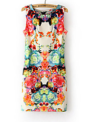 Maxlove Women's Floral Print Bodycon Sleeveless Dress