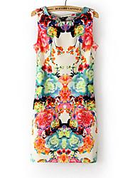 Cópia floral das Maxlove Mulheres Bodycon vestido sem mangas
