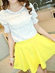 Tripulação da Mulher pescoço curto mangas Top & Forrado Skirt