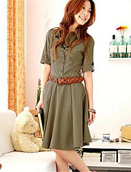 Women's Dress,Solid Knee-length ¾ Sleeve Beige / Green Others Summer