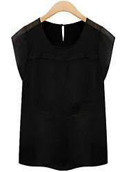 Women's Solid White/Black Blouse/Shirt , Round Neck Short Sleeve