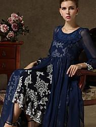 Chiffon de impressão Restaura maneiras antigas Vestido das mulheres