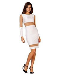Women's Club Sheath Dress,Patchwork Round Neck Knee-length Long Sleeve White Others Summer