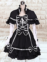 Bow Girl Long Sleeve Short-length White &d Black Cotton Classic Lolita Dress