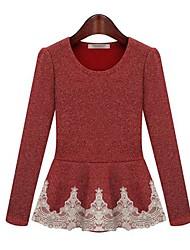 Damen Patchwork Einfach Lässig/Alltäglich T-shirt,Rundhalsausschnitt Frühling / Herbst / Winter Langarm Blau / Rot Baumwolle Mittel