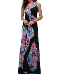 Women's Beach A Line Dress,Print Halter / Deep V Maxi Sleeveless Red / Black Summer