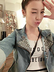 Women's Slim Rivets Motor Punk Epaulet Long Sleeve Denim Jeans Jacket Coat