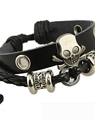 The Beaded Skull Leather Bracelet