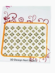3D Flower Pattern Metal Nail Stickers For Toe Golden