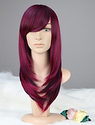 Women Capless Vogue Long Straight Purple & Black Synthetic Wig with Bang