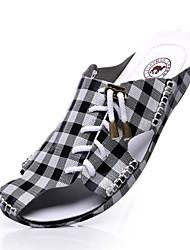 Chaussures Hommes Décontracté Toile Sandales Bleu/Marron/Blanc