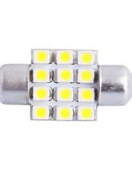 31mm 3W 150LM 6000K 12x3528SMD White LED for Car Reading/License Plate/Door Lamp (DC12V, 1Pcs)