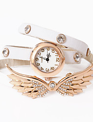 Dare U Fashion Punk Leather Diamonded Wings Pattern Chain Watch