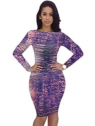 Sexclass Women's Sexy Leopard Printed Cut Out Long Sleeve Dress YH031