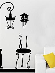 Createforlife ® Preto Lamp Chair crianças berçário da parede da sala de adesivos de parede decalques de arte