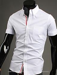 Tizeland Men's Lapel Neck Solid Color Short Sleeve Shirt