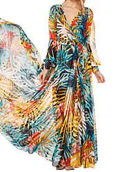 hdy elegante vestido alegría oscilación estampado floral con cinturón