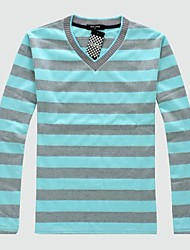 Men's V Neck Stripe Cotton Fall Long Sleeve Tops T-Shirts