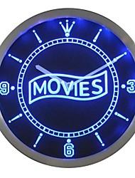 soirée cinéma signe décor néon led horloge murale