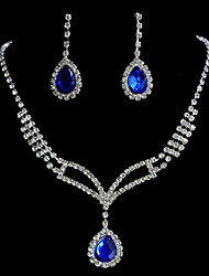 Memory Love Women's A Set Of Water Drop Rhinestone Necklace And Earring