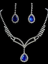 Любовь памяти женских набор капли воды ожерелье горный хрусталь и серьги