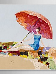 Hand Painted Oil Painting People Relaxing on the Beach in the Sun with Stretched Frame