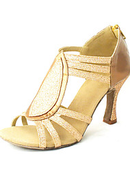 Customized Women's Leatherette Upper Latin Dance Shoes Sandals With Zipper