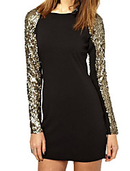 Women's Gold Paillette and Gauze Patchwork Long Sleeves Dress