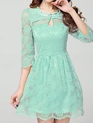 Женская Дамы Тонкий шею Solid Color Cut Out Кружева платье без рукавов