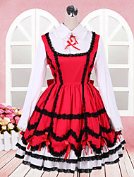 Lovely Girl Long Sleeve Knee-length Red and White Cotton School Lolita Dress