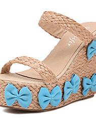 IPIEN Bowknot Grass-Weaving Leisure Slipsole Sandal (Blue)