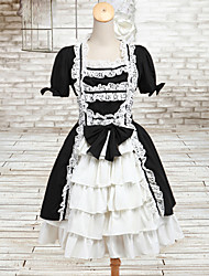 Lovely Maid Style Short Sleeve White & Black Cotton Classic Lolita Dress