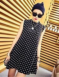 Женская Тонкий рукавов Водолазка горошек платье