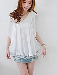 Women's Solid Shirt , V Neck Short Sleeve Ruffle/Lace