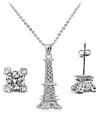 Romantic Paris Famous Designer Jewelry Clear Crystal Eiffel Tower Pendant Necklace Earrings Set