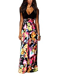 Women's Deep V Neck Print Patchwork Maxi Plus Size Dress