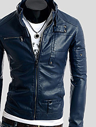 Hengyi Men's Lapel Neck Pockets Pu Leather Jacket
