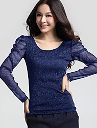 SANFENZISE™Women's Round Collar Gold Silk Gauze Shirt