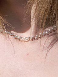 Shixin® Classic Double Pearl Alloy Strands Necklace(1 Pc)