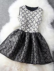 Col rond manches Meifu robe tutu court (Noir)