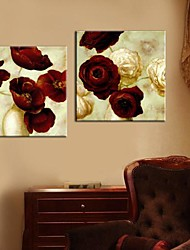 Stretched Canvas Art Painting Flowers Set of 2