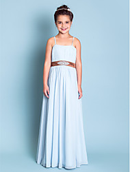 Floor-length Chiffon Junior Bridesmaid Dress A-line / Princess Spaghetti Straps Empire with Beading / Draping / Sash / Ribbon