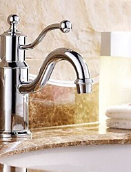 Chrome Finish One Handle One Hole Hot and Cold Water Bathroom Sink Faucet