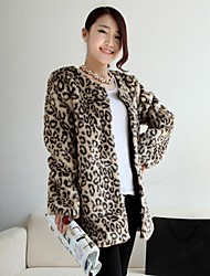 Fashion Thick Long Sleeve Collarless Faux Fur Coat