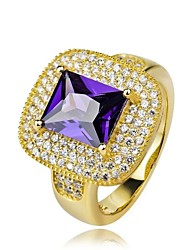 S925 Sterling Silver Gold Plated And Amethyst Ring
