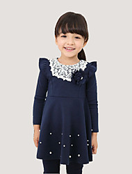 Girl's Blue / Pink / Red Dress,Solid Cotton All Seasons