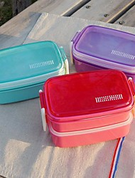 Polka Dot Japanese Style Candy Color Boxes Lunch Box Double Layer(Random Color)