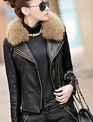 Women's Short Slim Motorcycle Leather PU Coats(More Colors)